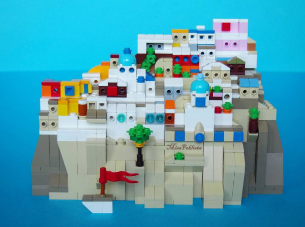 Image of Santorini made out of Lego