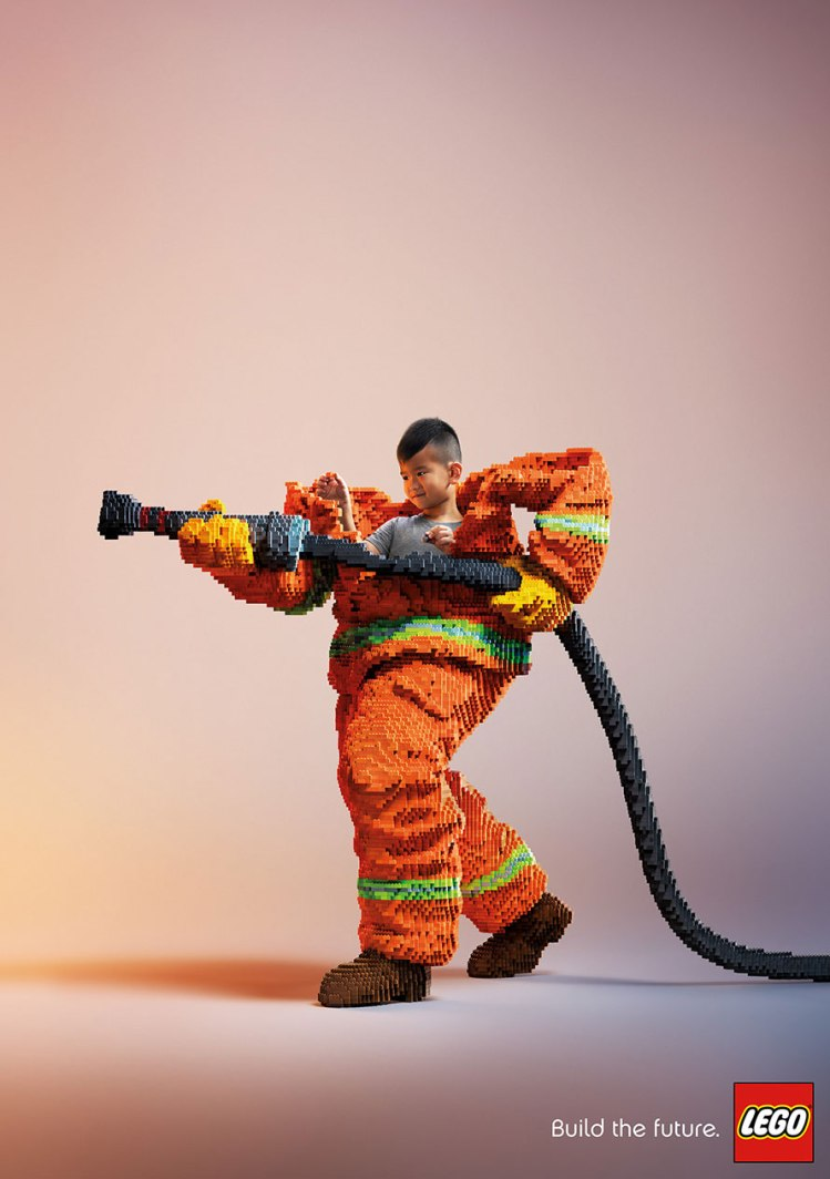 Child in Lego Firefighter Outift