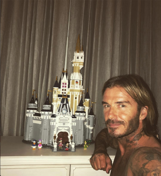 David Beckham with Lego Disney Castle