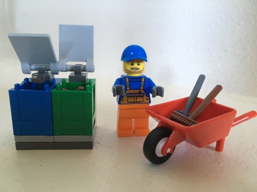 Image of LEGO Garbage Man Minifigure with Wheelbarrow and Trashcans