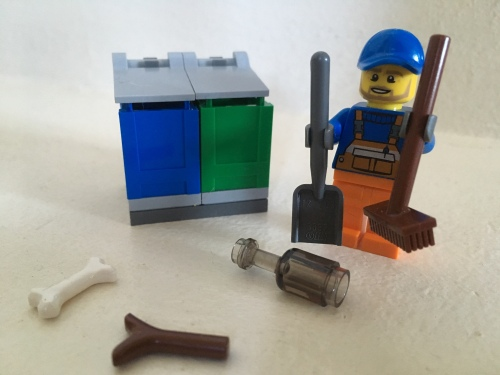 Image of LEGO Garbageman Minifigure with rubbish and trashcans