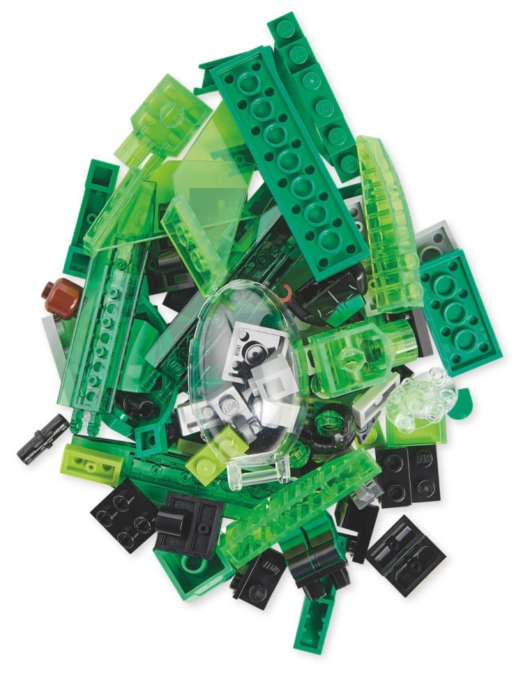 Pile of green LEGO bricks
