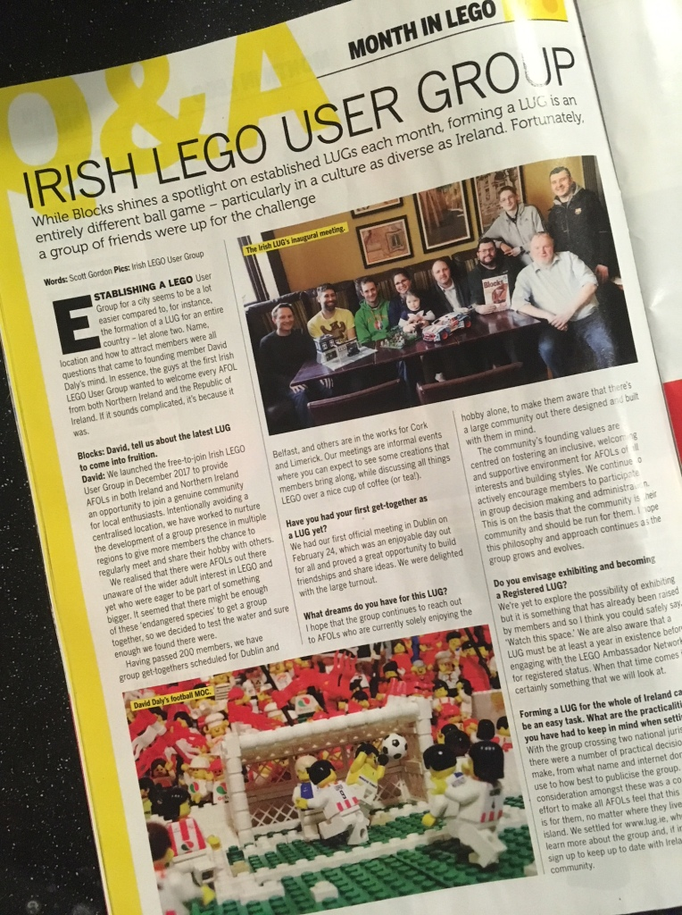 Article about Irish Lego User Group in Blocks Magazine