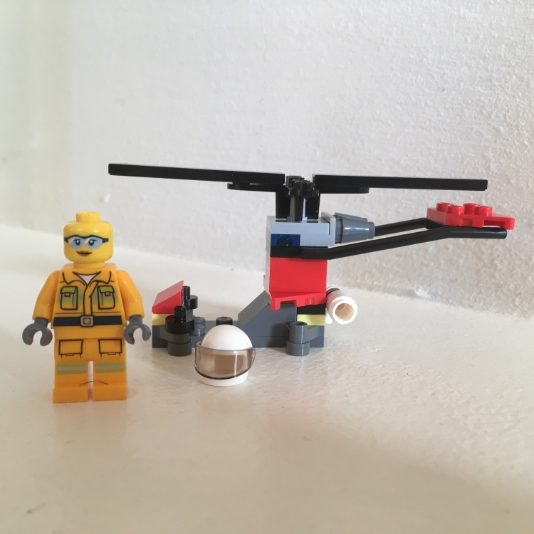 Lego City Firefighter Minifigure with helicopter