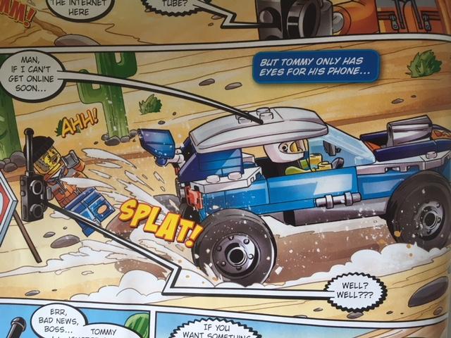 Tommy Tube LEGO Minifigure driving a desert race car