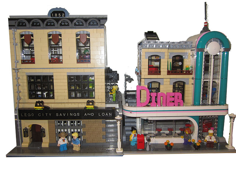 LEGO Savings and Loan MOC with Downtown Diner Modular
